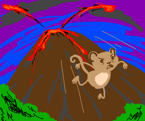 monkey trying to escape from a volcano
