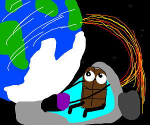 chocolateman orbiting earth