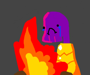 Thanos cries over a fire