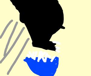 Godzilla jumping over Rice