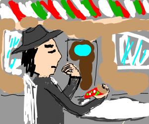 italian eating pizza