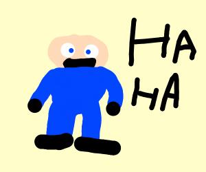 bald man laghing