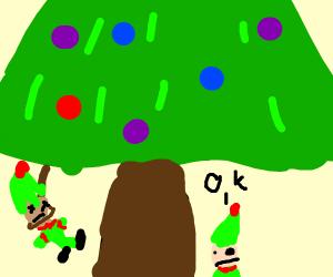elf hangs himself on a christmas tree