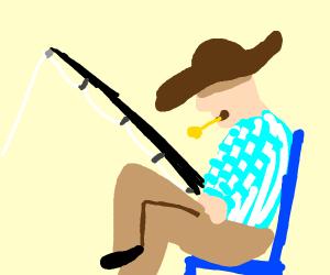 A farmer Fishing with a blue chair