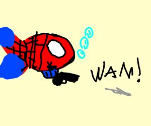 Spiderman fish with pistol