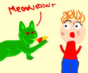 Cat dragon attacking man
