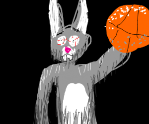 disturbed bunny plays basketball