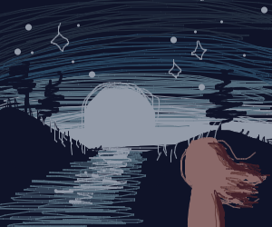 Girl looks out on moonlit landscape