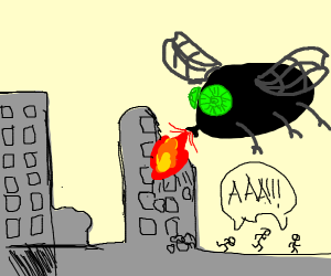 A giant fly attacks a city