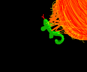 Lizard in a solarflare