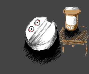round pill with eyes