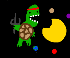 Space ninja turtle eating the solar system