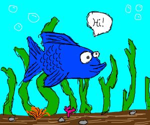 A Blue fish saying 'Hi'
