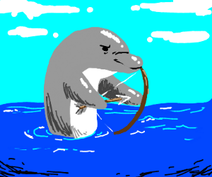 dolphin with bow