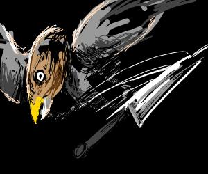 Knife whizzes past bird