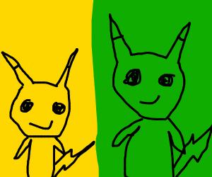 Green clone of Pikachu mirrors Pikachu