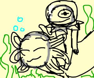 Kermit rides an axolotl