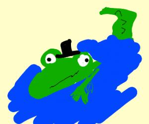 Alligator wearing a Top Hat
