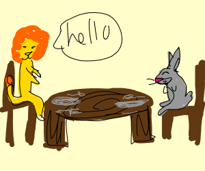 Lion greets a hare at the dinner table