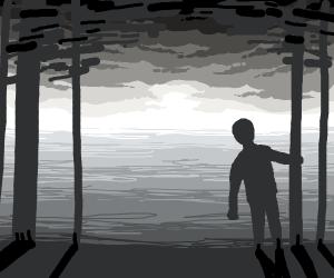 Man surveys horizon while clinging to a tree