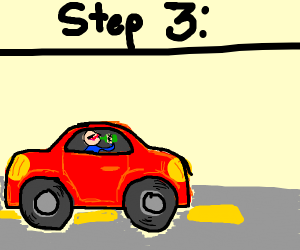 Step 2: Car with eyes drives down highway