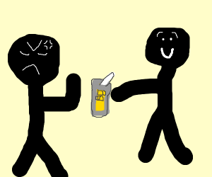 Angry guy refuses nice guy's lemonade