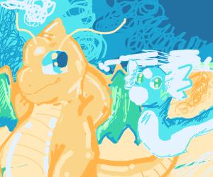 Dratini and Dragonite chilling