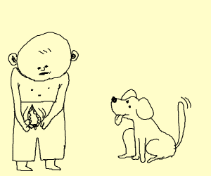 Man unzipping his pants in front of a dog