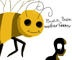 Giant bee attacks somebody
