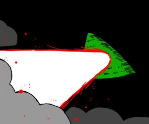 Illuminati pyramid shooting a laser beam