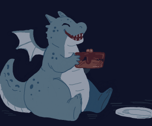 dragon sitting down eating chocolate cake.