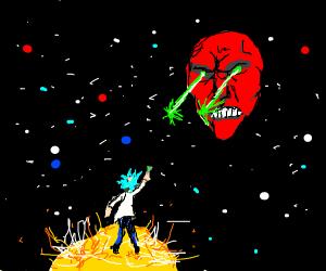 A Face Firing a Laser at a Man on a Star