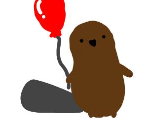 A beaver has a balloon