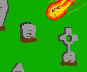Meteorite falls on graveyard