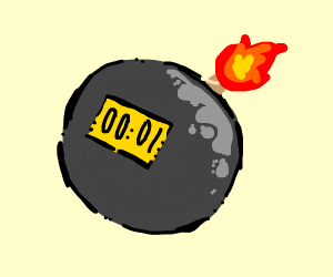 Bomb with timer at one second