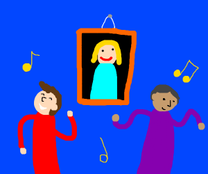 Painting of  woman and on two men dancing