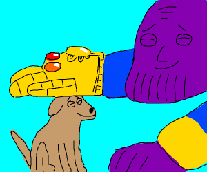Thanos pets a good dog