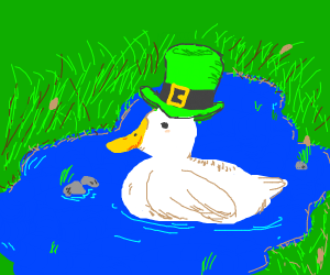 Duck with green top hat