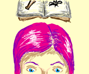 """Pink haired girl reads book on """"how to bat"""""""
