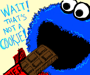 Cookie Monster eating chocolate bar