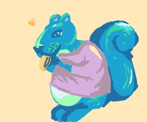 blue squirrel in purple t-shirt