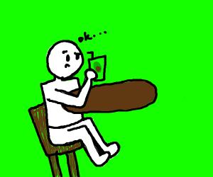 Man tries avocado juice