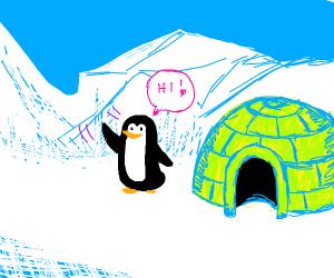 penguin waving next to green igloo