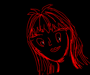 black screen with anime in red text