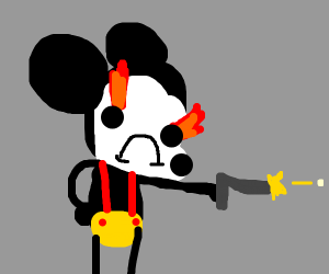 mickey mouse committing genocide with pistol