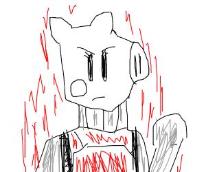 humanoid peppa pig is mad