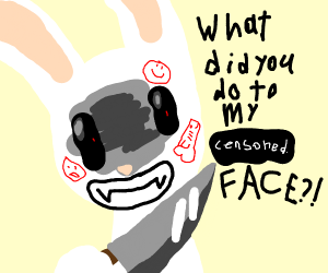 Rabbit wonders what you did to its face