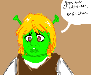 Yellow haired anime shrek needs attention