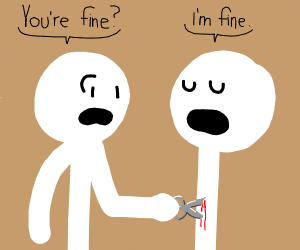 man stabs other man with scissors: he's fine