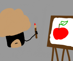 Black object painting an apple